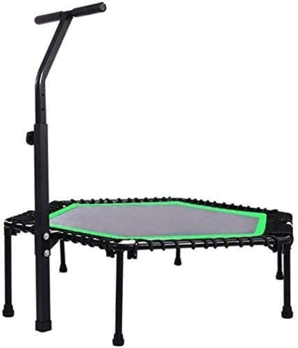 DIMPLEYA 45 Inch Indoor Fitness Trampolines Trampoline Fitness Trampoline for Hexagonal Folding Trampoline with T Armrest Green Indoor Trampoline