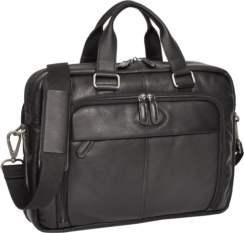 Real Colombian Leather Laptop Bag Briefcase Cross Body Shoulder Bag HL341 Black