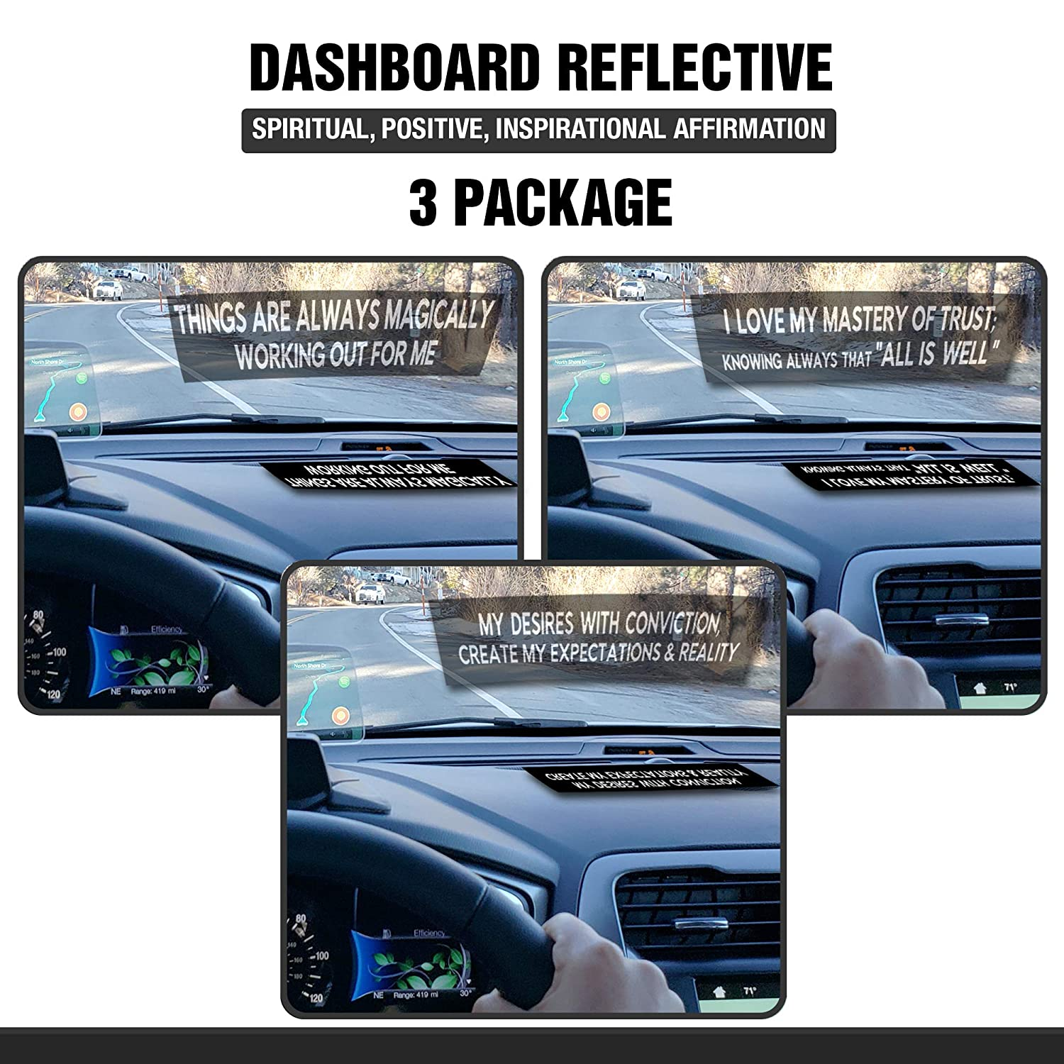 Dashboard Reflective - Spiritual, Positive, Inspirational Affirmation - 3 Package