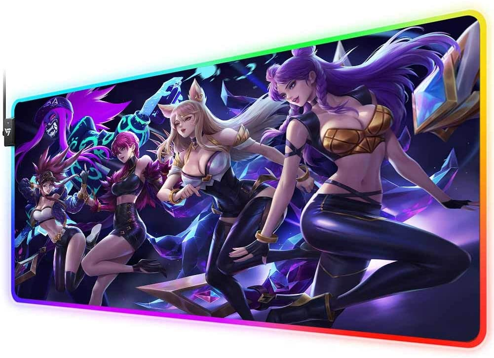 RGB Gaming Mouse Pad for kda Akali Evelynn ahri kaisa, LED Soft Extra Extended Large Mouse Pad,Anti-Slip Rubber Base,Computer Keyboard Mouse Mat 31.5 X 12 Inch
