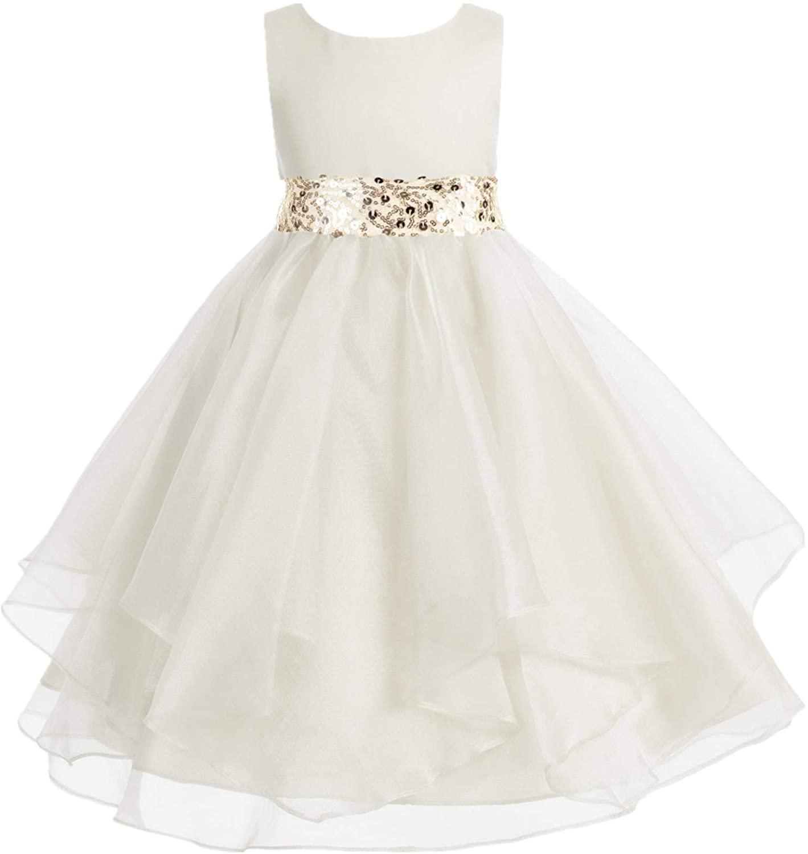 ekidsbridal Asymmetric Ruffled Organza Sequin Flower Girl Dress Christening Dresses 012S 8 Ivory