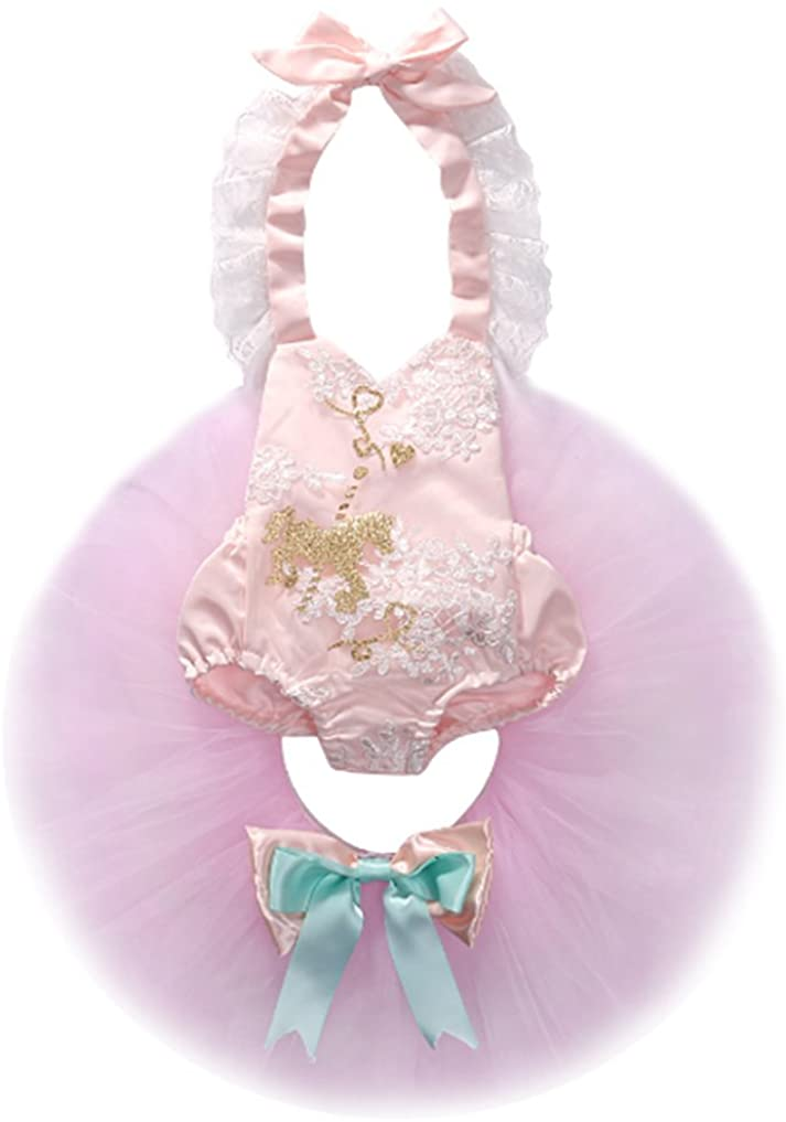 Newborn Baby Girls Pink Horse/Star Pattern Halter Lace Romper+Tulle Tutu Skirt Outfits Set