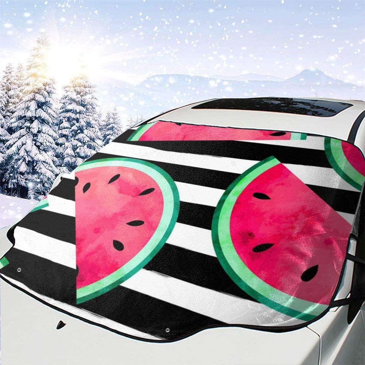 THONFIRE Car Front Window Windshields Snow Sun Shade Fruity Watermelon Stripe Cover Waterproof Blocks UV Rays Keeps Your Vehicle Cool Visor Protector Trucks Spring Heat Insulation