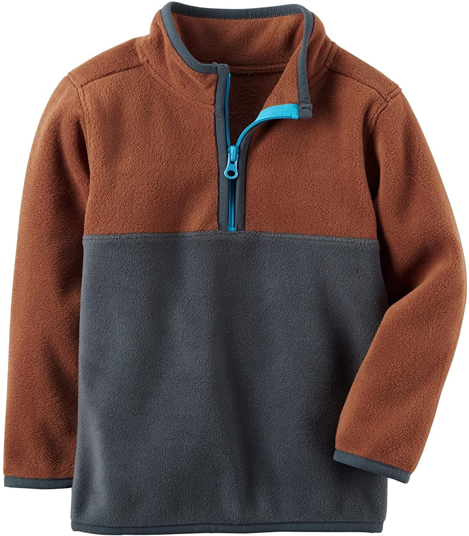 Carter's Boys' Brown and Navy Colorblock Fleece Half Zip Pullover (9m)