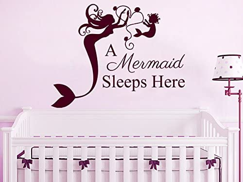 Wall Decals Quotes Vinyl Sticker Decal Quote A Mermaid Sleeps Here Phrase Bedroom Kids Nursery Baby Room Home Decor C237