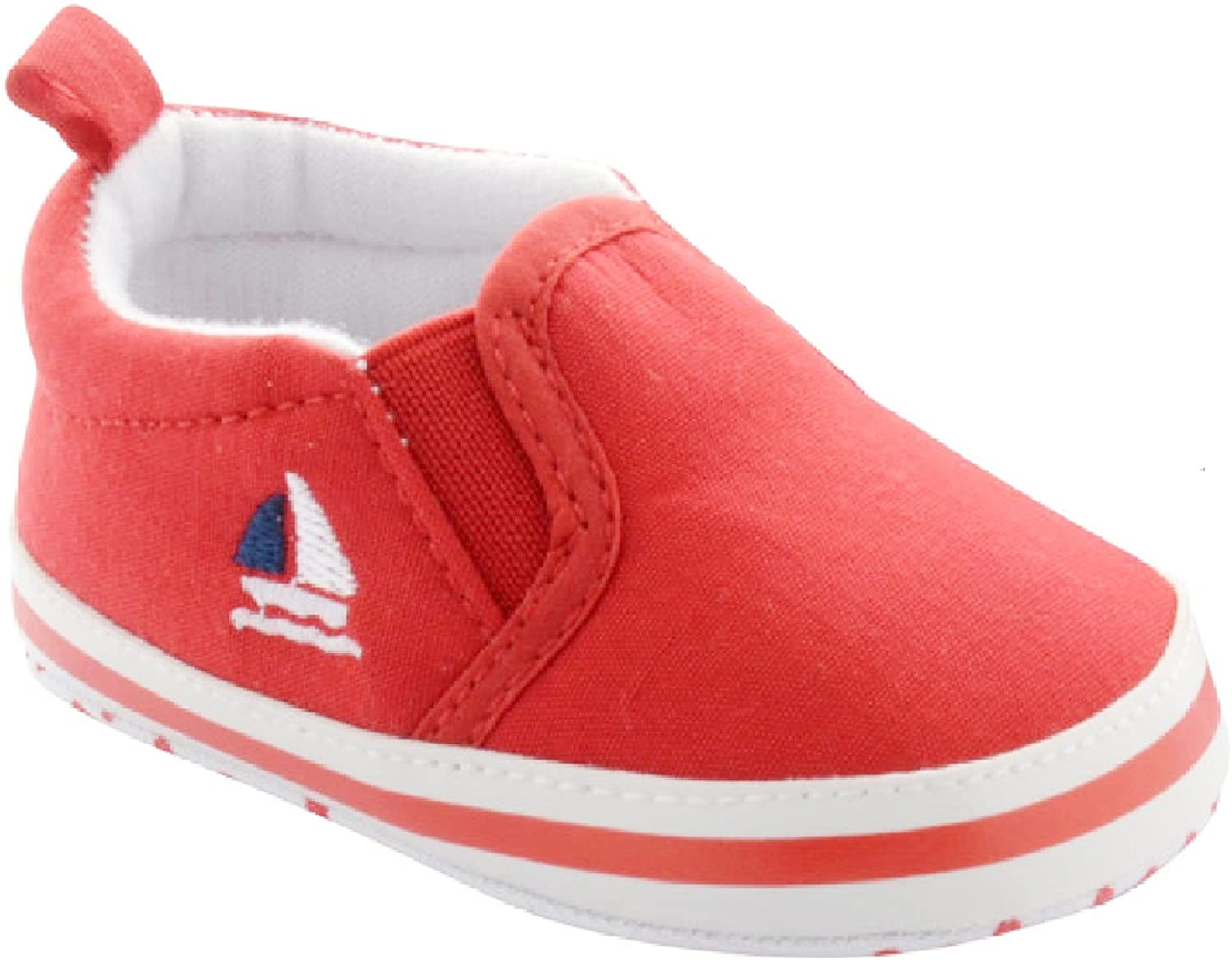 Red Slip on Shoes with Sailboat Embroidery 3-6 Months (3.75