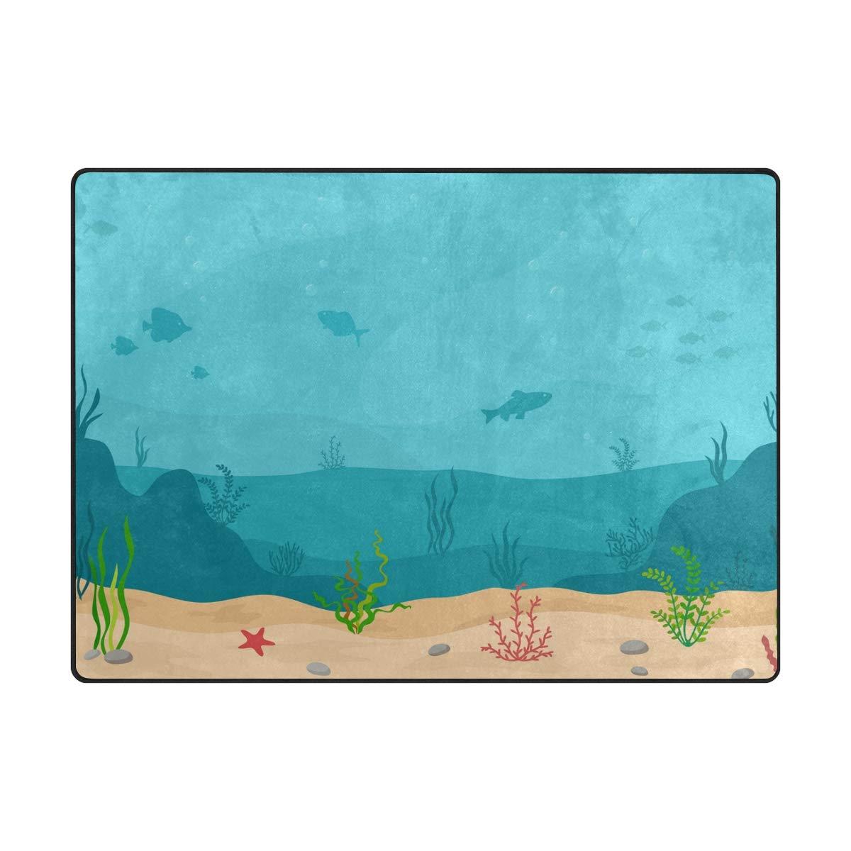 La Random Large Soft Rugs 63x48 Inches Marine Sea Plants Non-Skid Lightweight Nursery Yoga Rugs Play Mat for Kids Playing Room Living Room Bedroom Floor Mats