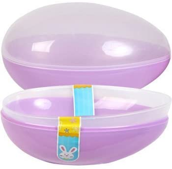 2 X Jumbo Easter Egg Plastic Egg Shaped Containers Assorted Pastel Colors, 7 3/4