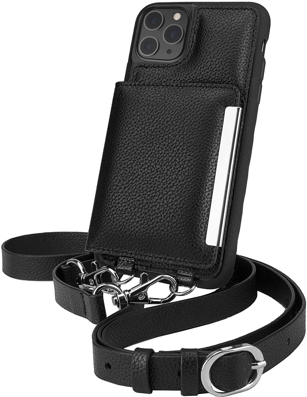 Smartish iPhone 11 Pro Max Crossbody Case - Dancing Queen [Purse/Clutch with Detachable Strap & Card Holder] - Stiletto Black-Silver