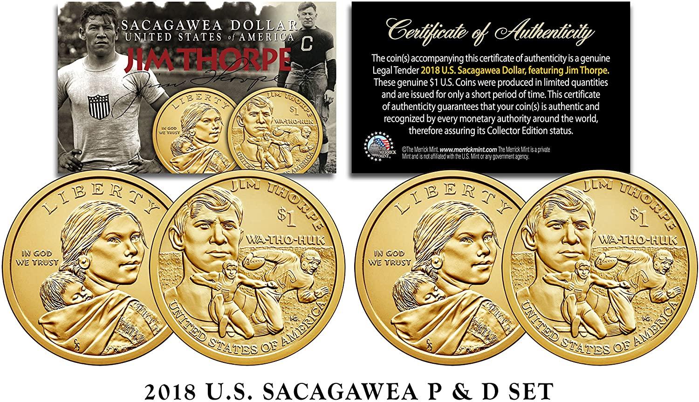 2018 US MINT Native American JIM THORPE $1 Dollar Sacagawea 2-Coin Set Both P&D