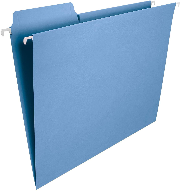 Smead FasTab Hanging File Folder, 1/3-Cut Built-in Tab, Letter Size, Blue, 20 per Box (64099)