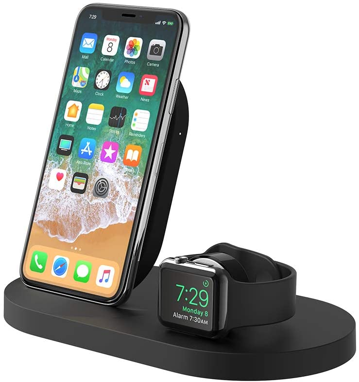 Belkin F8J235ttBLK Boost Up Wireless Charging Dock (Apple Charging Station for Iphone + Apple Watch + USB Port) Apple Watch Charging Stand, iPhone Charging Station, iPhone Charging Dock (Black)