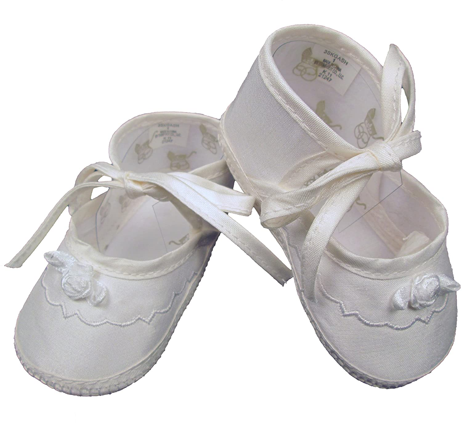 Little Things Mean A Lot Girls Silk Dupioni Christening Shoes Baptism Shoes with Ribbon Rosette