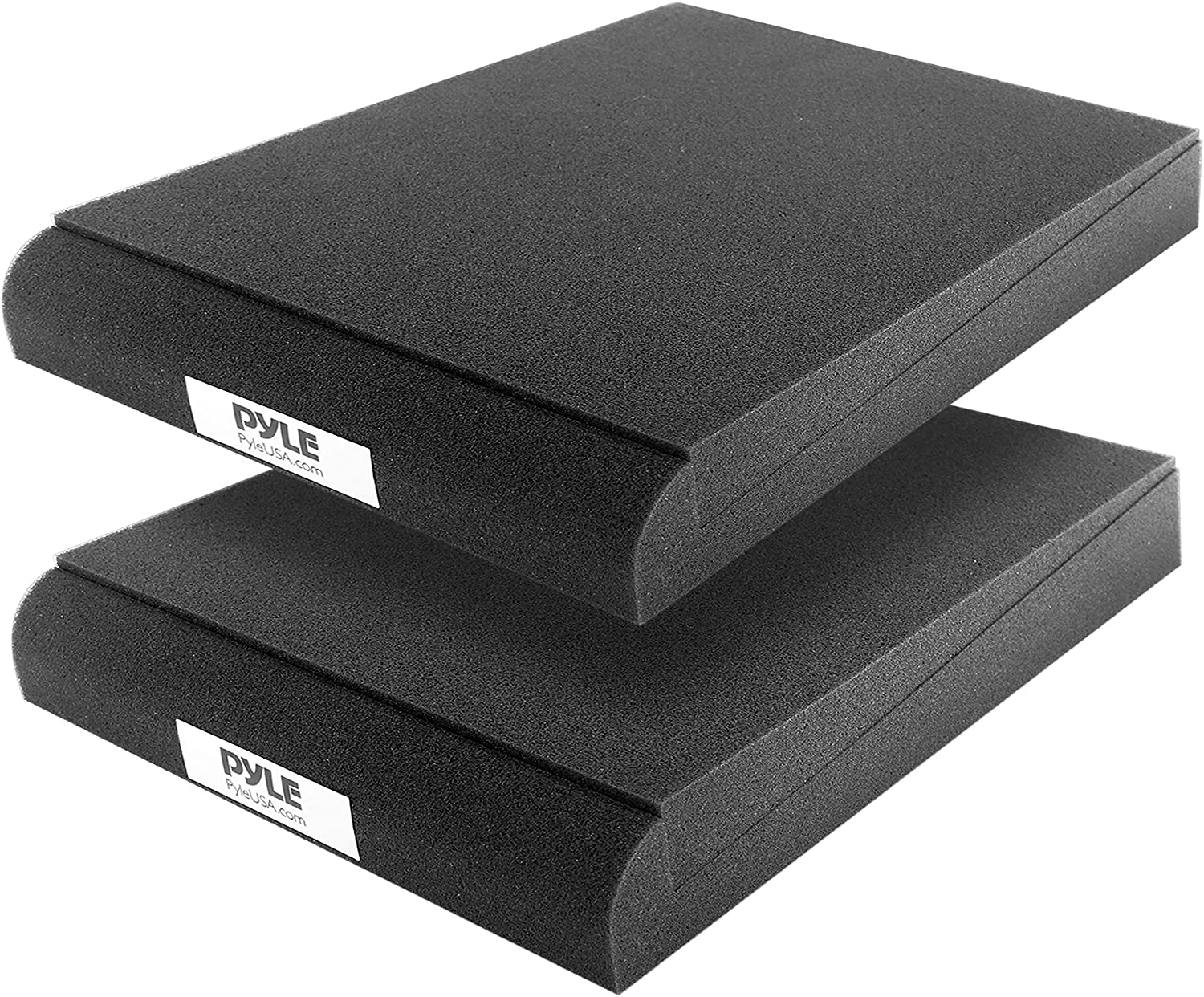 Sound Dampening Speaker Riser Foam - Audio Acoustic Noise Isolation Platform Pads Recoil Stabilizer w/ Rubber Base Pad For Studio Monitor, Subwoofer, Loud Speakers - Pyle PSI03 (9 x 12 x 2 Inch, Pair)