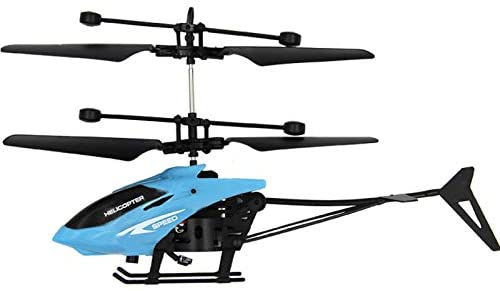 Flying Mini RC Infraed Induction Helicopter Aircraft Flashing Light Toys for Kid USB Charged Airplanes Birthday Present Xmas Gift (Blue)