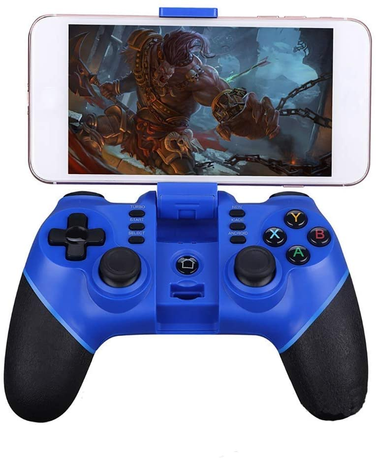 HWZDQLK Game Controller, Bluetooth Phone Gamepad, Wireless Universal Game Controller, The Overall Build is Good, Feels Comfortable and Sturdy to Hold, Supports Android and iOS (Color : Blue)