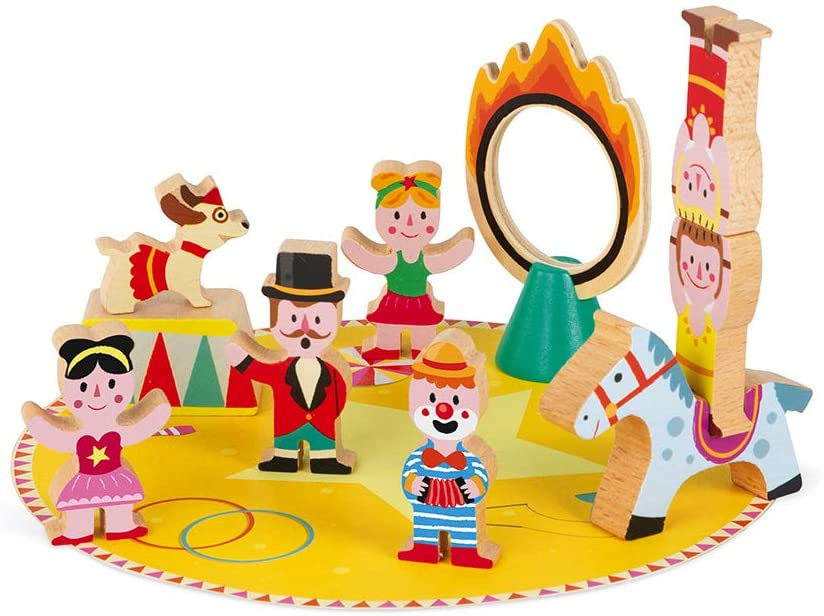 Janod Mini Story Box Toy - 10 Piece Imagination and Roll Playing Circus Painted Wooden People and Animal Play Set for Imaginative Play for Ages 3+