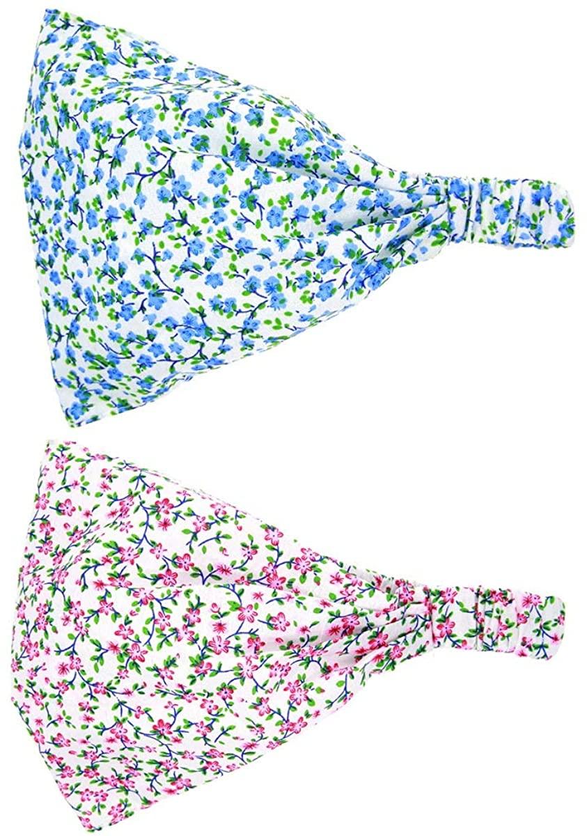 Baby Floral Printing Cotton Headband Kids Flower Bandanas Headscarf Band Hats JA86