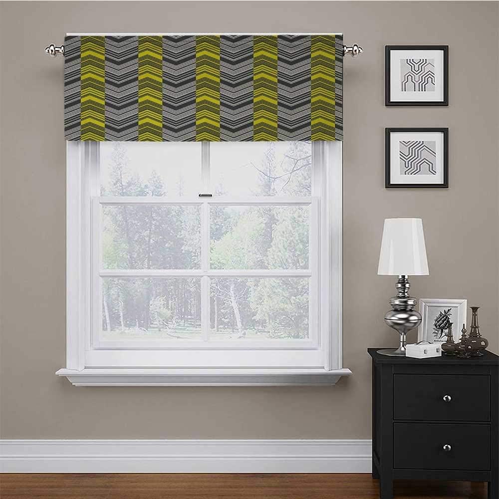 carmaxs Custom Valance Yellow and White for Kids Room/Baby Nursery/Dormitory Herringbone Pattern with Angled Lines Geometric Chevron Zigzags 54