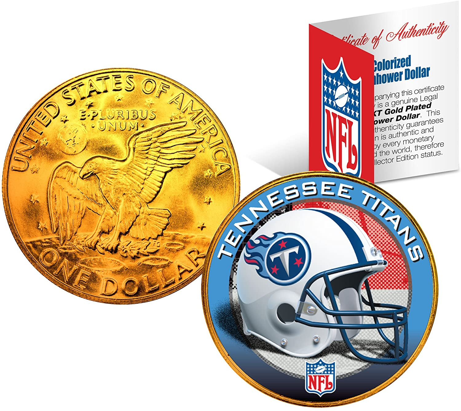 TENNESSEE TITANS NFL 24K Gold Plated IKE Dollar US Coin OFFICIALLY LICENSED with NFL Certificate