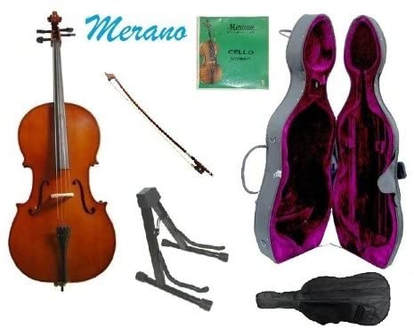 Merano 3/4 Size Cello with Hard Case, Bag and Bow+2 Sets of Strings+Black Cello Stand+Rosin