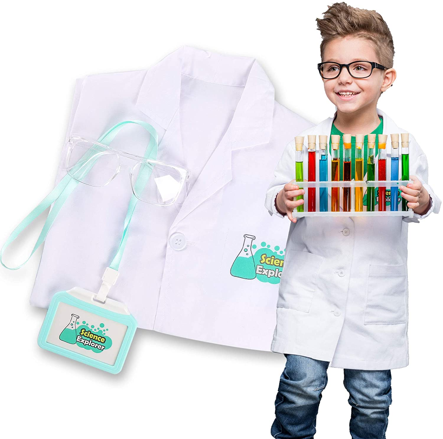 Lab Coat for Kids Scientist Costume Childrens Role Play Set Pretend Play with Goggle and Personalized ID Card, Age 4-8 White