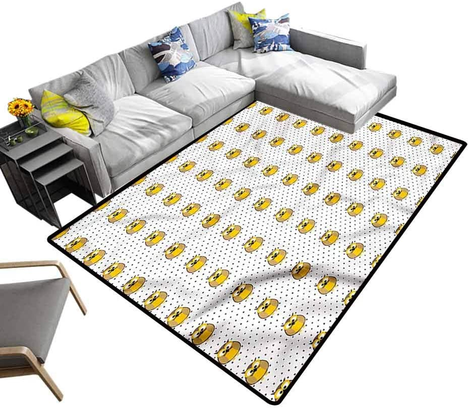 Grey and Yellow, Modern Rugs Owls and Polka Dots Baby Crawling Mat for Boys Kids Room Living Room Home Decor, 5'x 8'