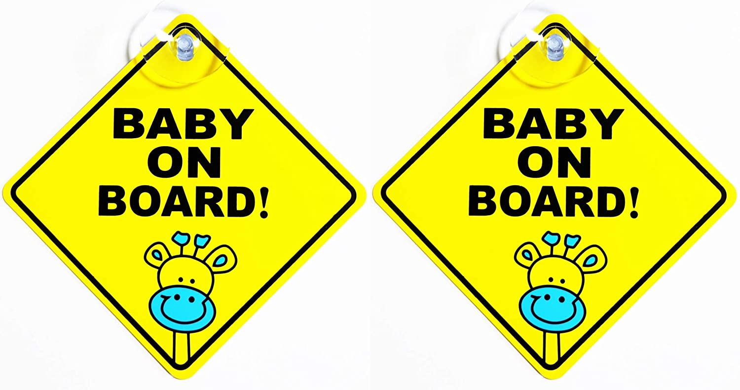 Baby in Car Waving Sticker Baby on Board Sign for Car,Kids in car Decal Sticker Safety Sign Cute Car Decal Vinyl Car Sticker (2pack-Baby on Board(Giraffe))