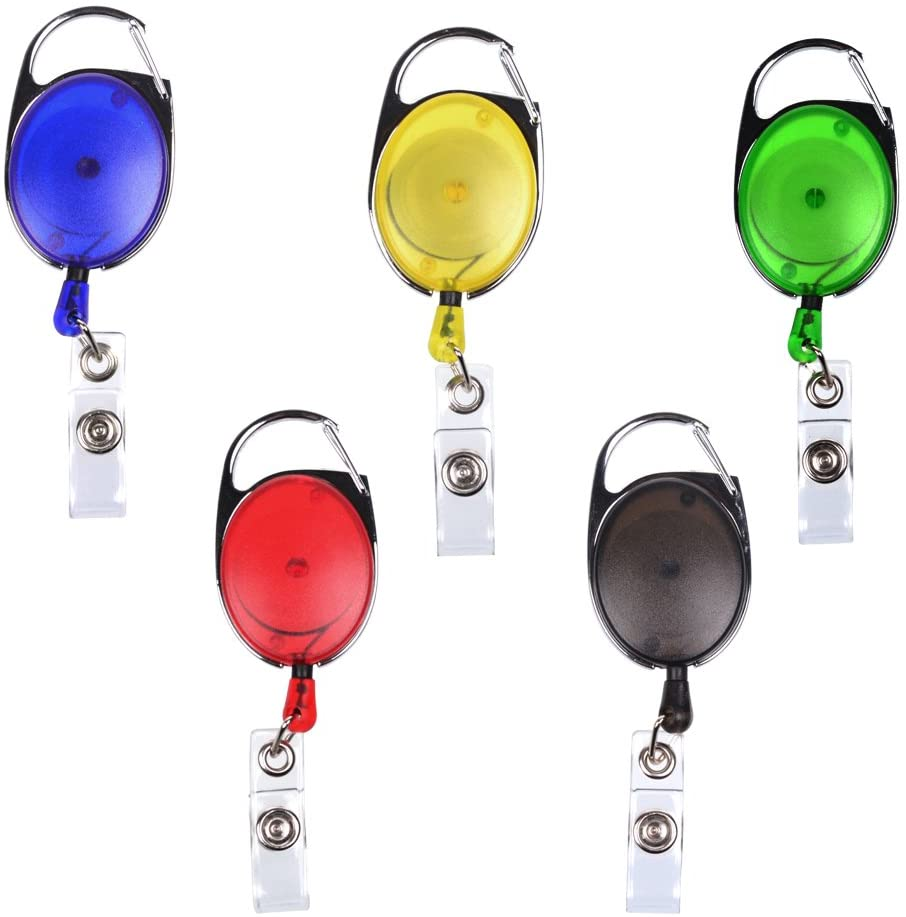 5 PCS Different Colors Translucent Retractable Carabiner Reels for ID Badge Holders, Key Cards and ID Cards