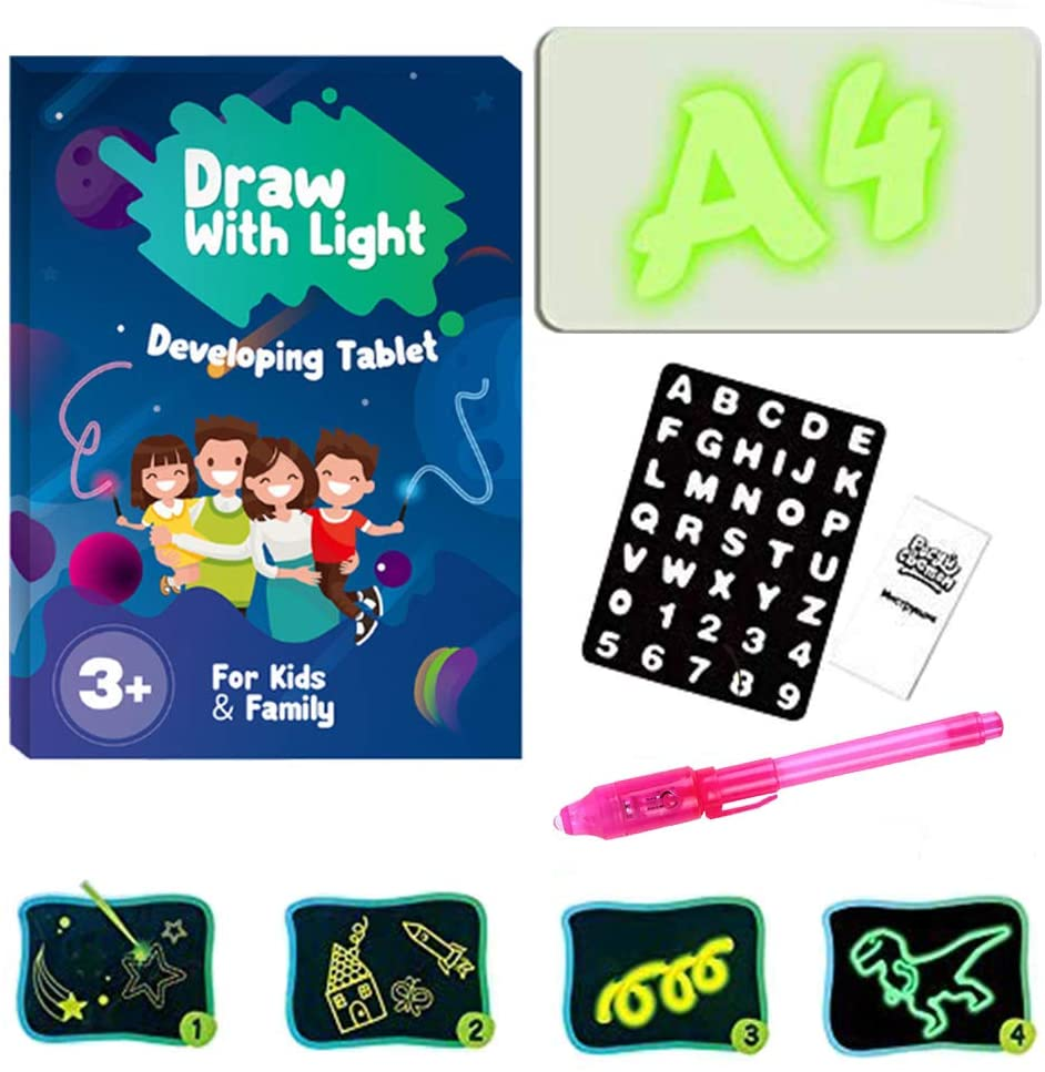 Hozzi LED Luminous Drawing Board Graffiti Doodle Drawing Tablet Magic Draw with Light Fun and Developing Toy Dark Children Funny Toys Magic Draw Educational Gift (11.8 x 8.3 in)
