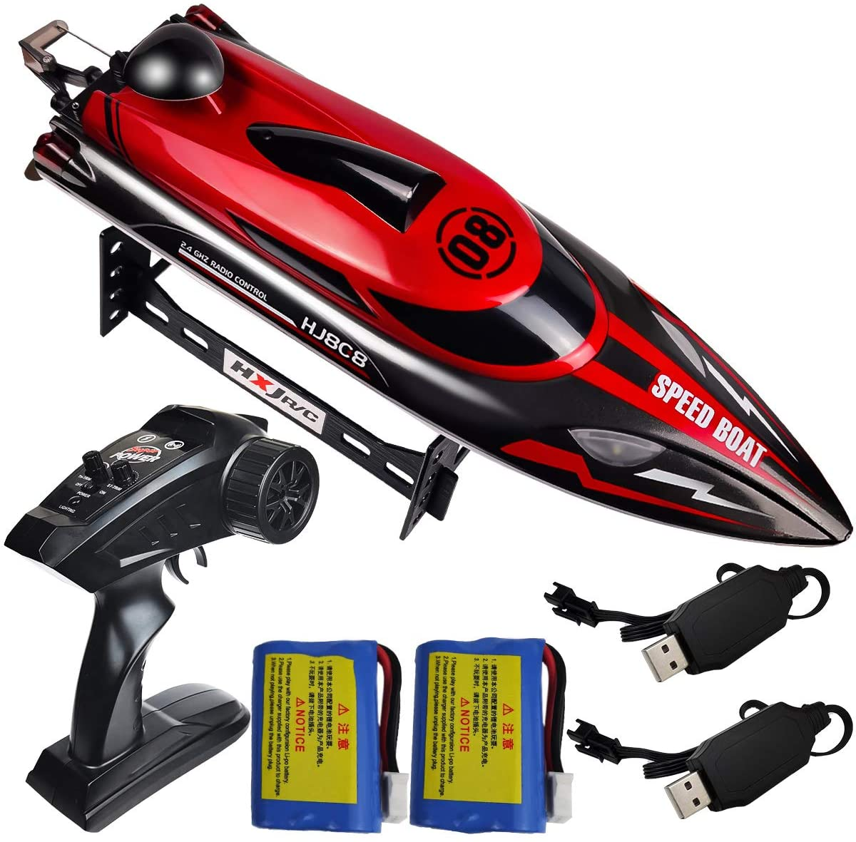 HONGXUNJIE 2.4Ghz High Speed RC Boat-HJ808 18mph Remote Control Racing Boat for Kids and Adults for Lakes and Pools with Double Batteries Double Charger Cables (RED)