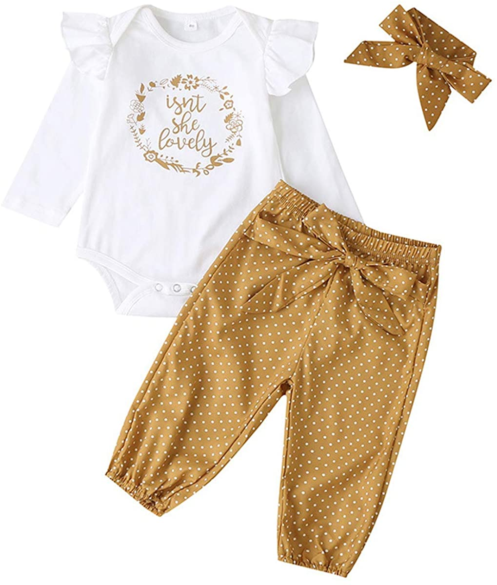 Long Sleeve Ruffle Sleeve Top, Floral Long Pants, Headband Toddler Infant Outfits for Fall, 3PCS Baby Girl Clothes