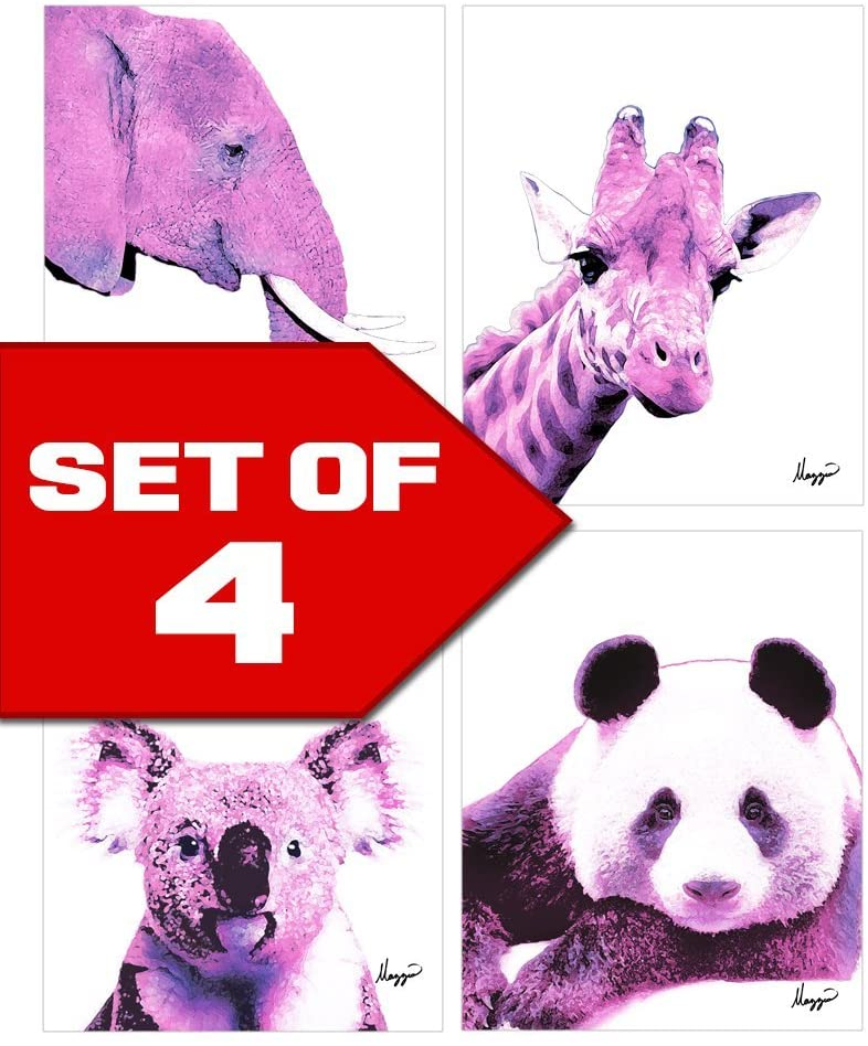 Wallables Pink Nursery Animals Elephant, Panda, Koala, Giraffe! Color Accent Bundle 4 Stylish 8x10 Wall Art Decor Print Set. Perfect for Baby's Room, Kids Room, Nursery! by Mazzio Arts Only at