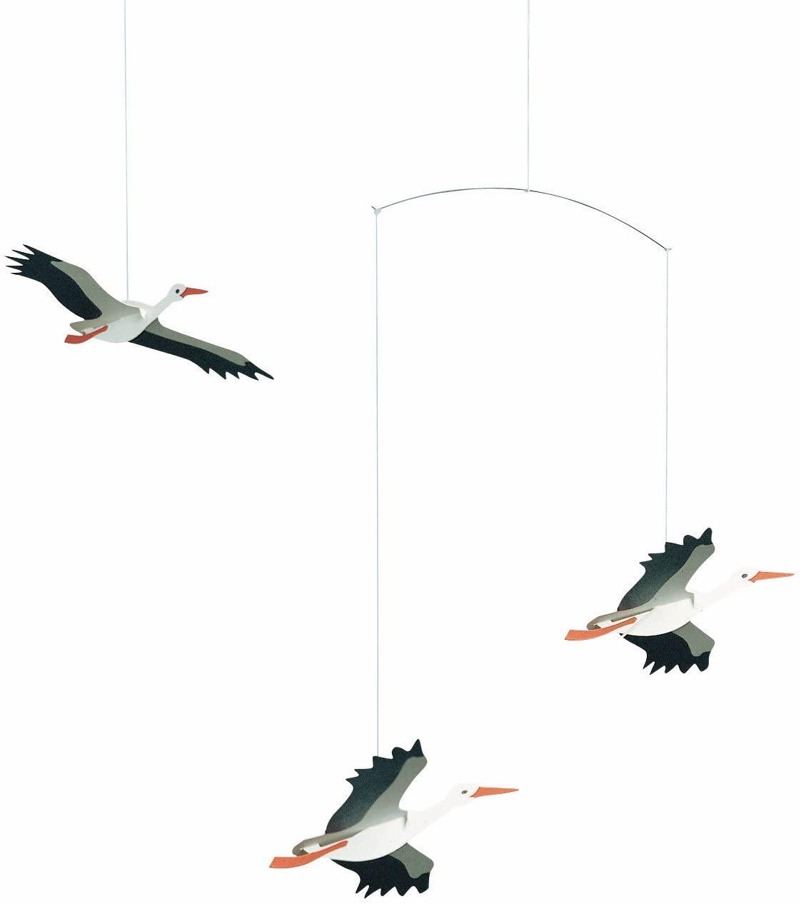 Danish Lucky Storks Hanging Mobile - 18 Inches - Handmade in Denmark by Flensted