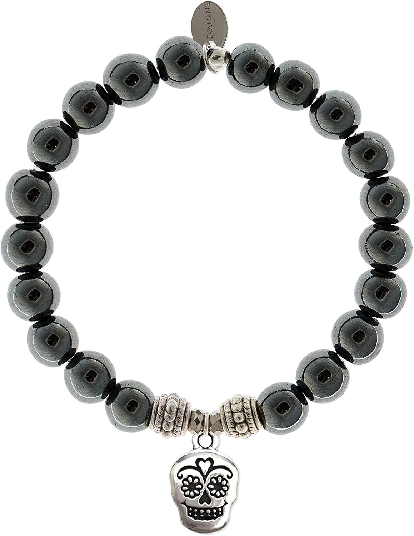 EvaDane Natural Hematite Gemstone Rope Bead Sugar Skull Charm Stretch Bracelet