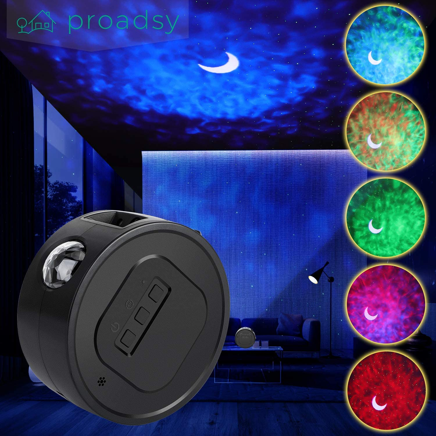 Galaxy Projector, 3D Voice Control Moon Nebula Clould Laser Projector, Star Projector Night Light for Kids Adults Bedroom Ceiling Decoration Black