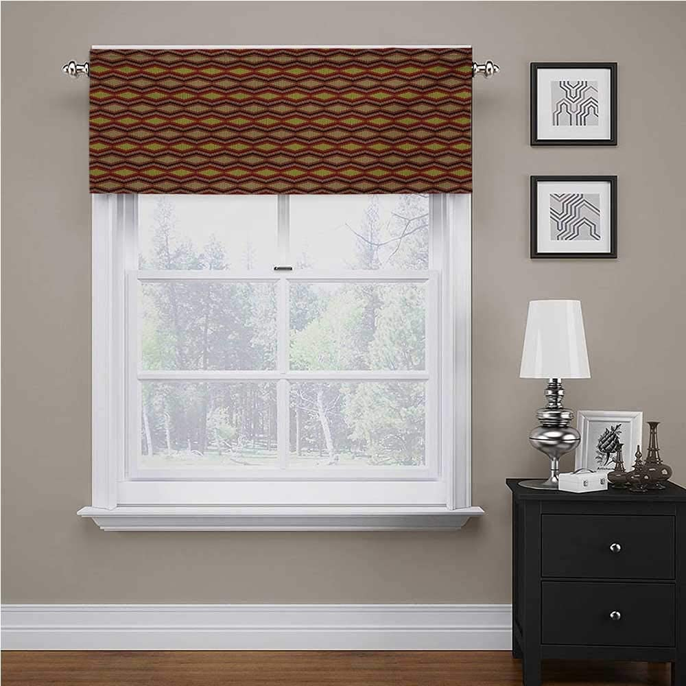 Interestlee Tan and Brown valances Window Treatments Knitting Themed Graphic Pattern with Zigzag Ornamental Chains and Warm Hues for Kids Room/Baby Nursery/Dormitory Multicolor, 42