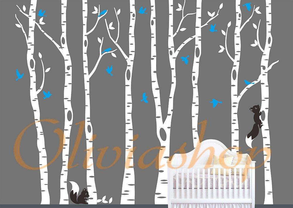 Vinyl Large White Birch Tree Wall Decal Nursery Birch Tree Wall Decal Stickers