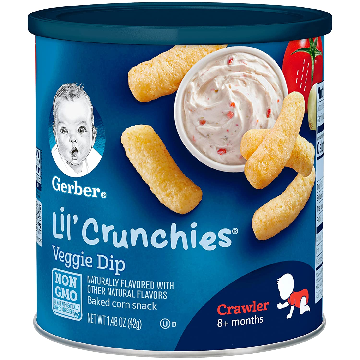 Gerber Lil Crunchies, Veggie Dip, 1.48 Ounce Canisters (Pack of 6)