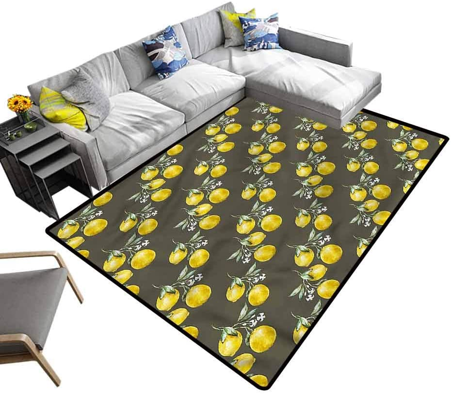 Floral, Soft Bedroom Rugs Lemon Branches Growth Baby Floor Playmats Crawling Mat Comfy Bedroom Home Decorate, 7'x 7'
