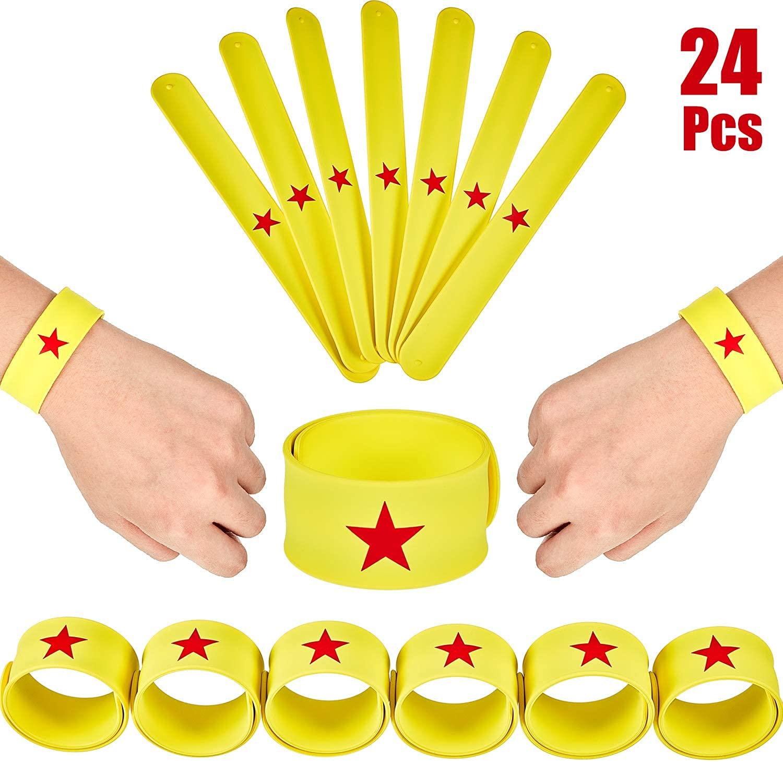 24 Pieces Slap Bracelets Yellow Slap Bracelet with Red Star Slap Band Slap Wristband Bracelets for Girls Birthday Party, Girls Team Supplies, Girl Power Favors