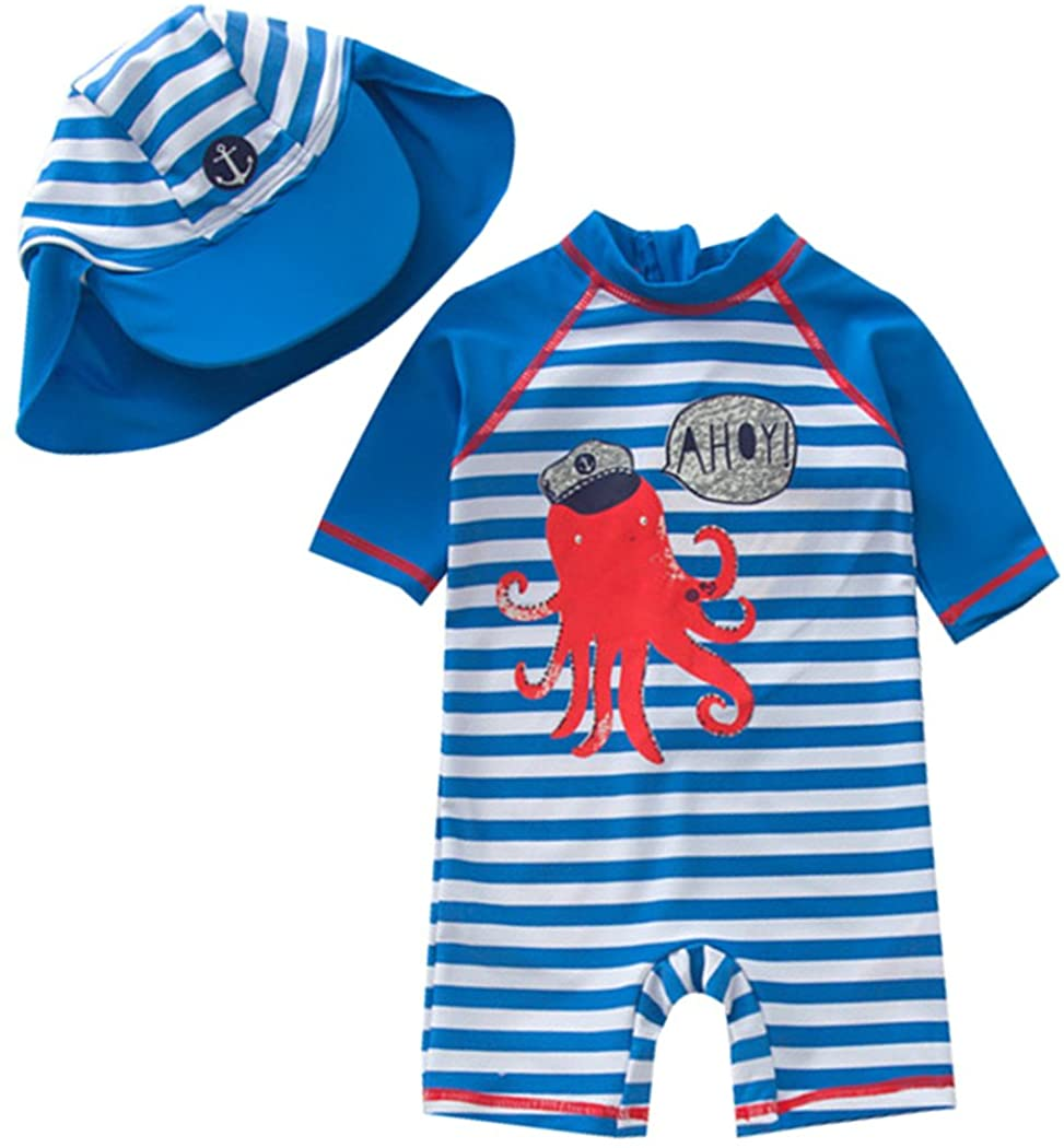 TAIYCYXGAN Baby Boys One Piece Bathing Suit Toddlers Swimsuit Swimwear with Hat Rash Guard Surfing Suit UPF 50+