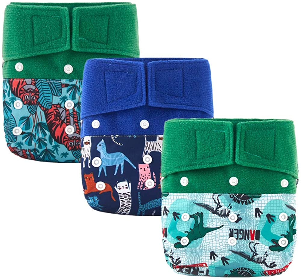 Cloth Diapers for Babies Hook and Loop Closure 3 Pack with 3 Microfiber Inserts Thank u Mom