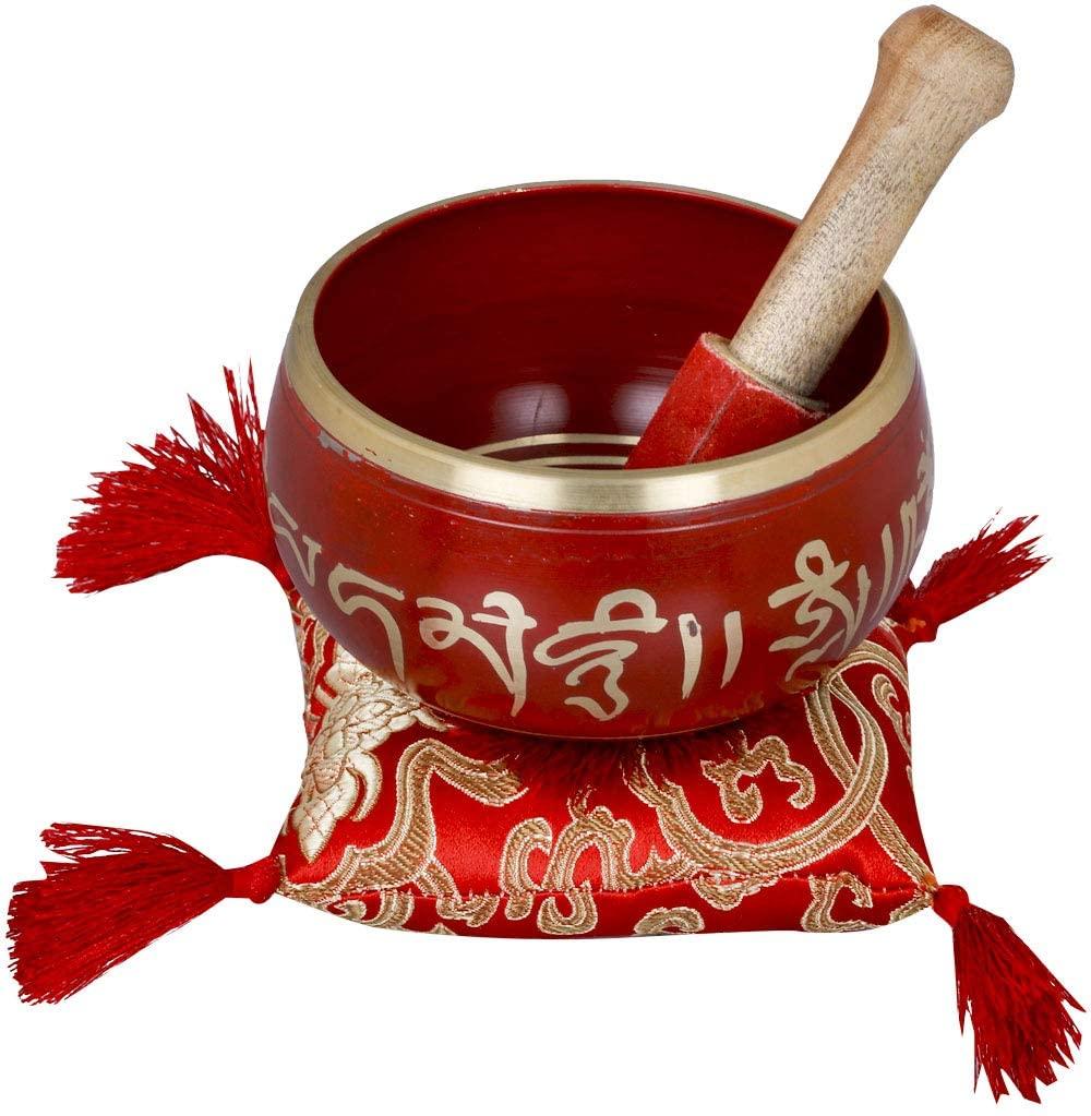 Exotic India Tibetan Buddhist Auspicious Symbols Singing Bowl - Brass,Wood and Cloth