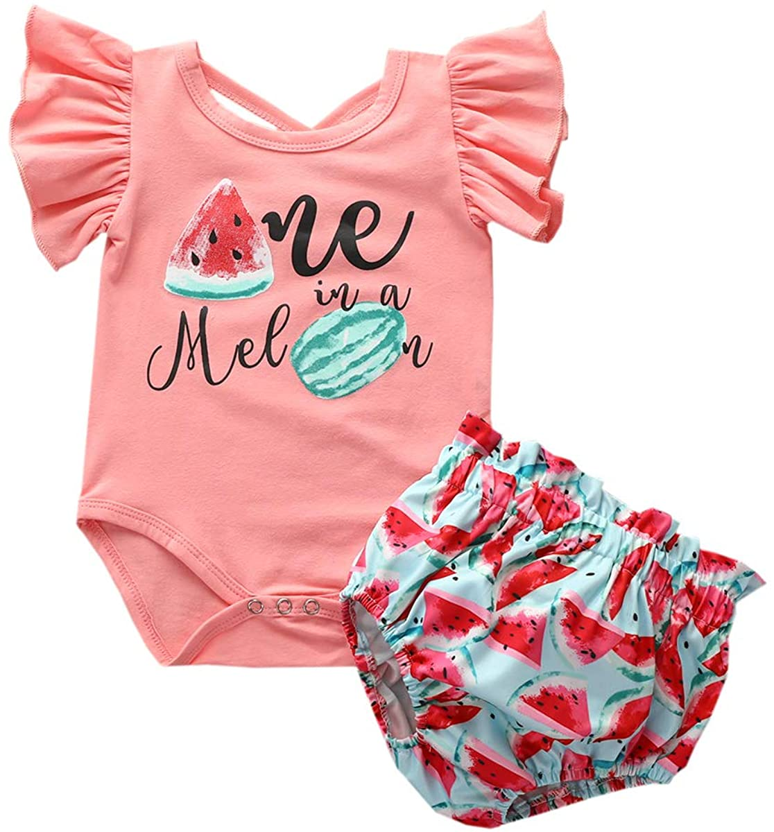 2Pcs Newborn Infant Baby Girl Shorts Set Ruffle Sleeves Romper+Watermelon Short Clothes Set Outfits Summer