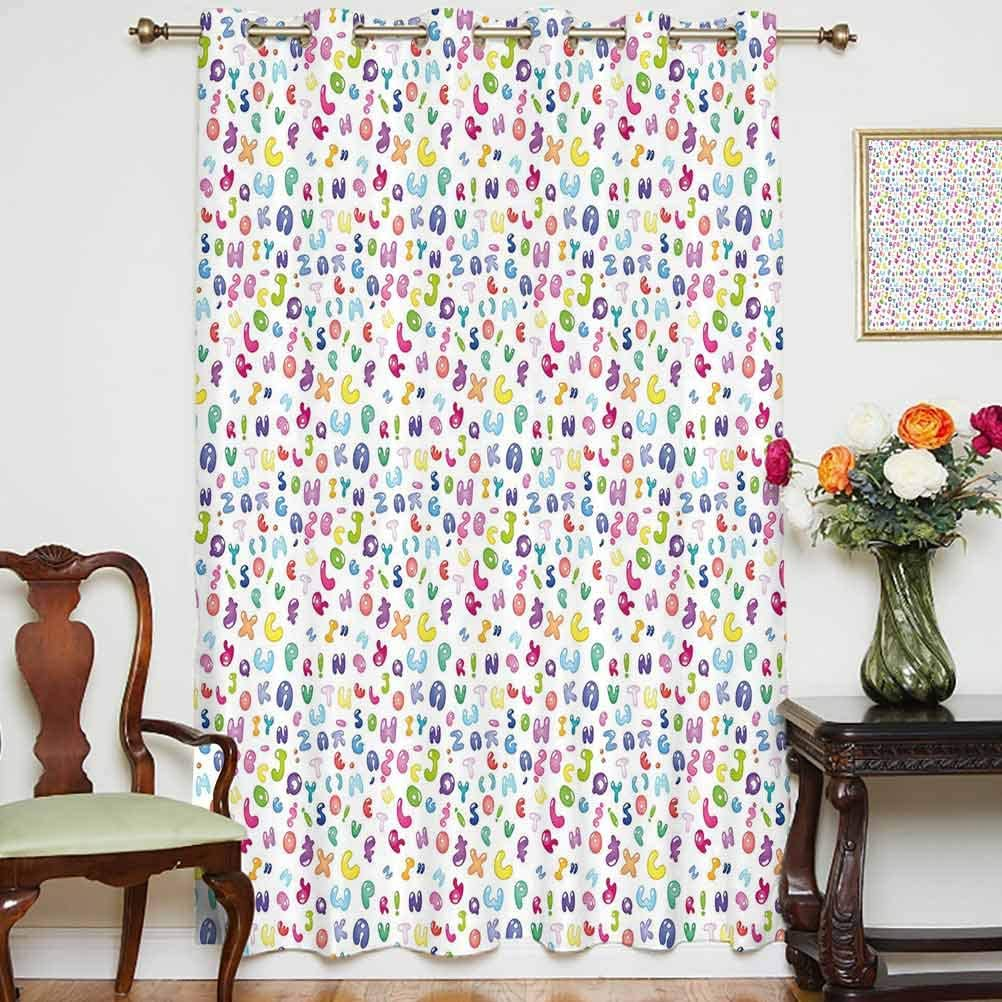 Kids Decor Shading Curtains Cute Colorful Alphabet Abc Bubble Letters Doodle Style Fun Childish Nursery Design Thermal Backing Sliding Glass Door Drape ,Single Panel 52x63 inch,for Bedroom Multi