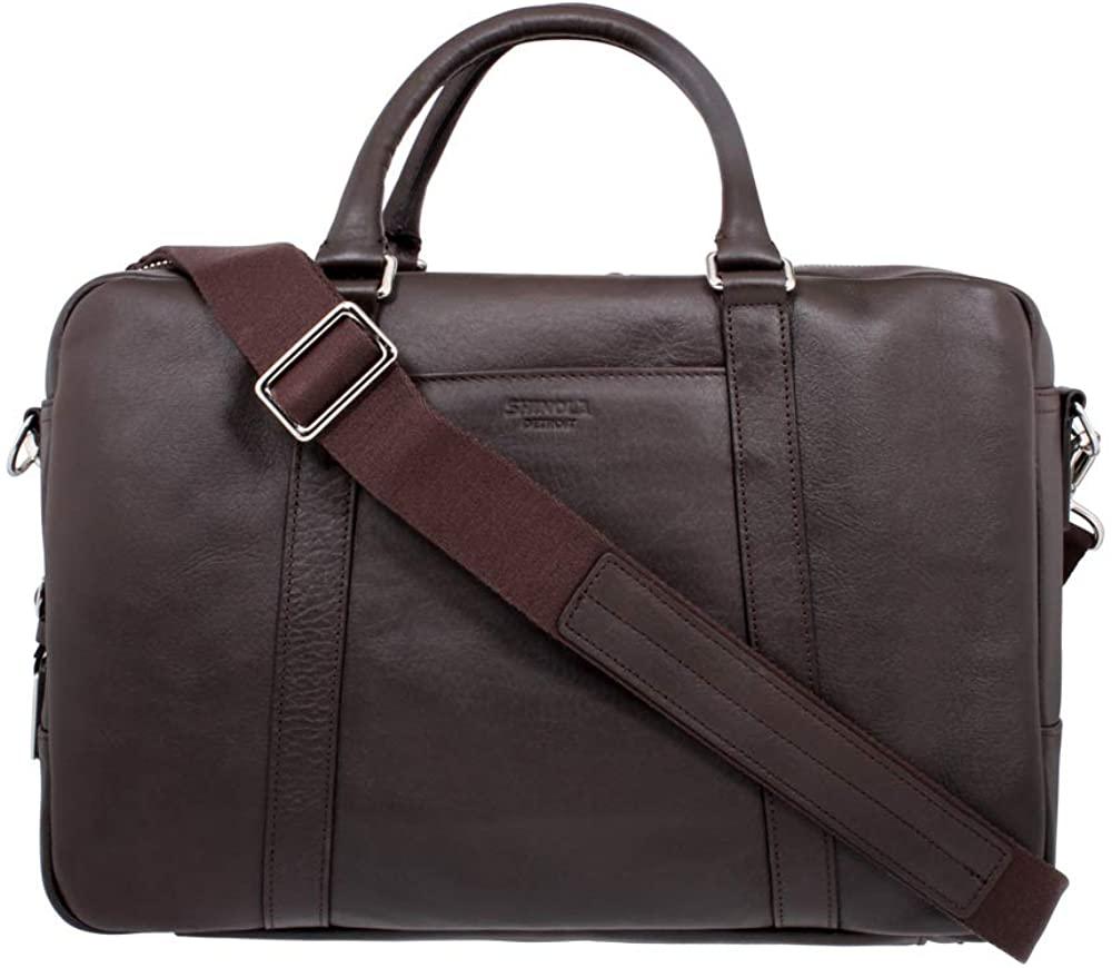 Shinola Silm Briefcase Medium Deepbrown Leather Shoulder bag S0310018025