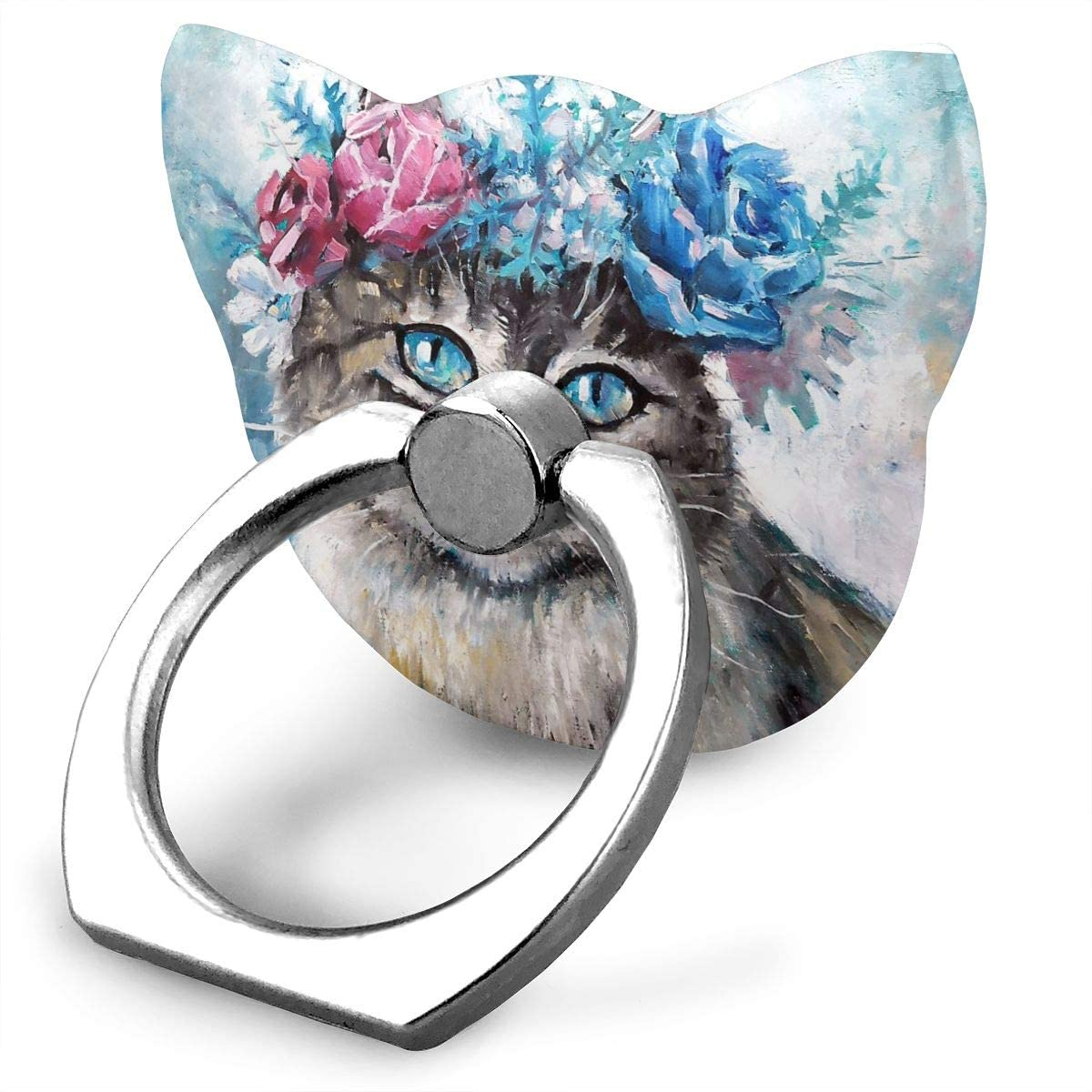 Universal Phone Ring Holder Painting Cute Cat in Flower Wreath Adjustable 360°Rotation Cat Shape Finger Grip Loop Cell Phone Stand for Phone X/6/6s/7/8/8/10/11 Plus Android Smartphone