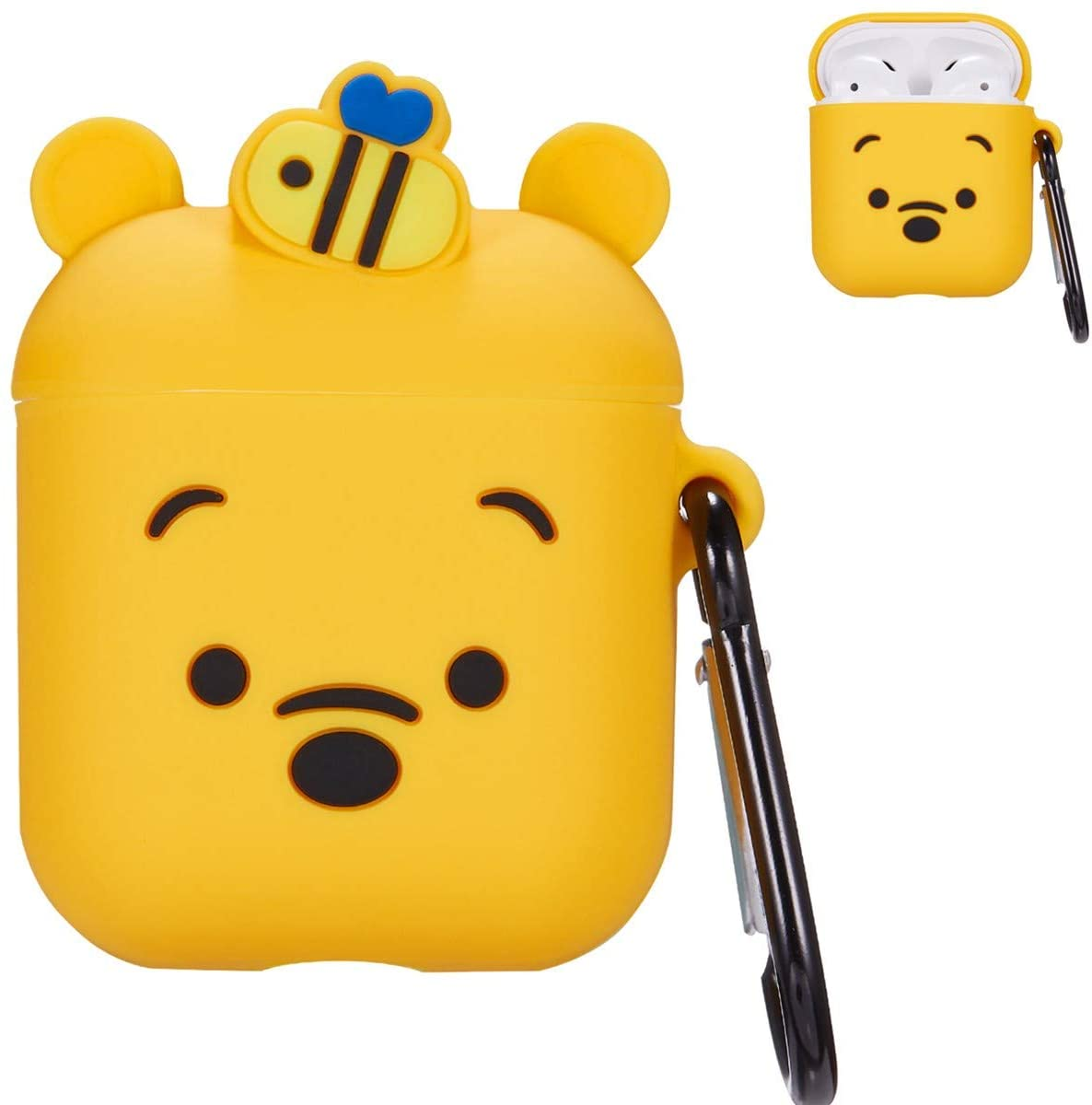 Mulafnxal Compatible with Airpods 1&2 Case,Cute 3D Funny Cartoon Character Silicone Airpod Cover,Kawaii Fun Cool Catalyst Design Skin Kits,Fashion Cases for Girls Kids Teens Boys Air pods(Honey Winnie