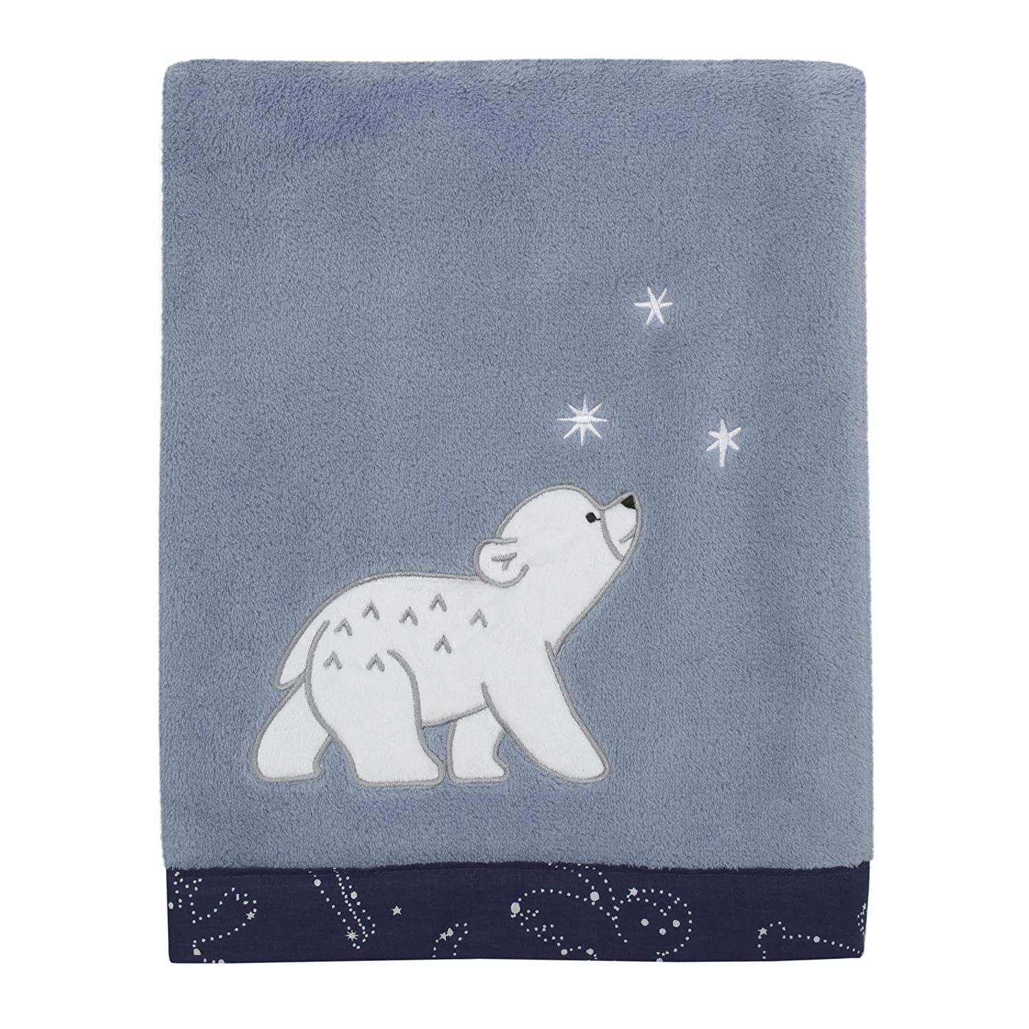 NoJo Cosmo Bear - Light Blue, Navy & Grey Super Soft Appliqued Baby Blanket, Light Blue, Navy, White